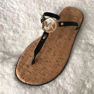 Michael kors sandals cork jelly thong black gold